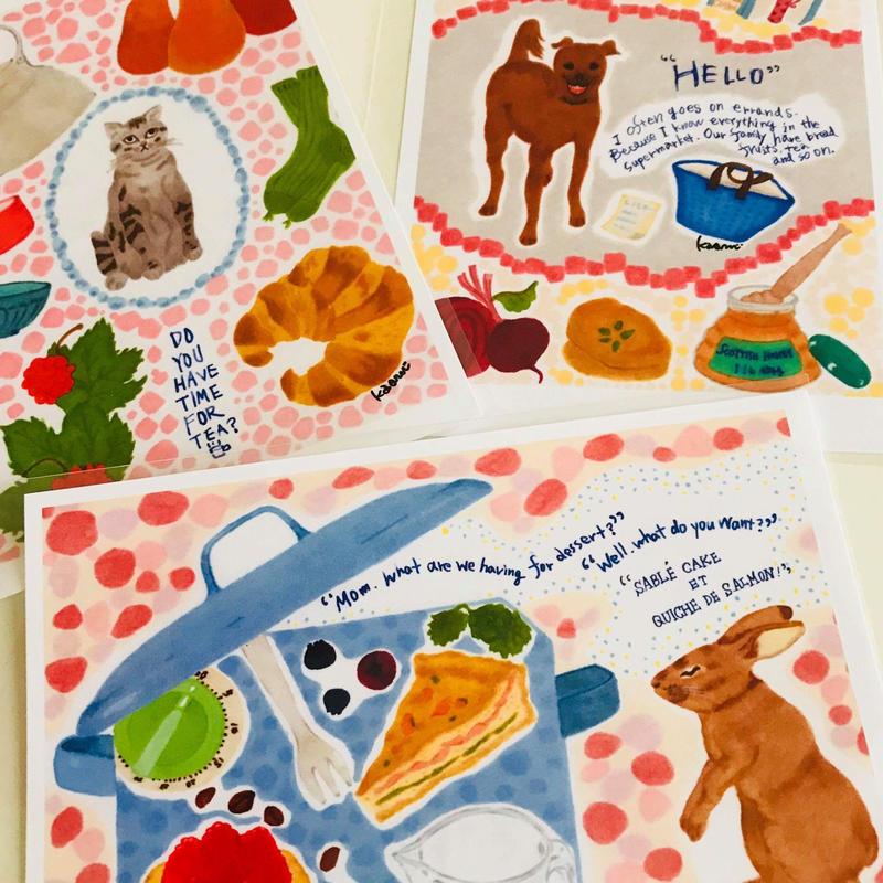 ポストカード3枚セット(おつかいdog、お茶時間、dessert)