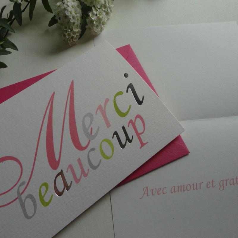 サンキューカード《Merci beaucoup》ピンク