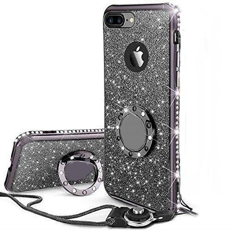 iPhoneケース リング ストラップ付きケース キラキラ かわいい おしゃれ (ブラック)