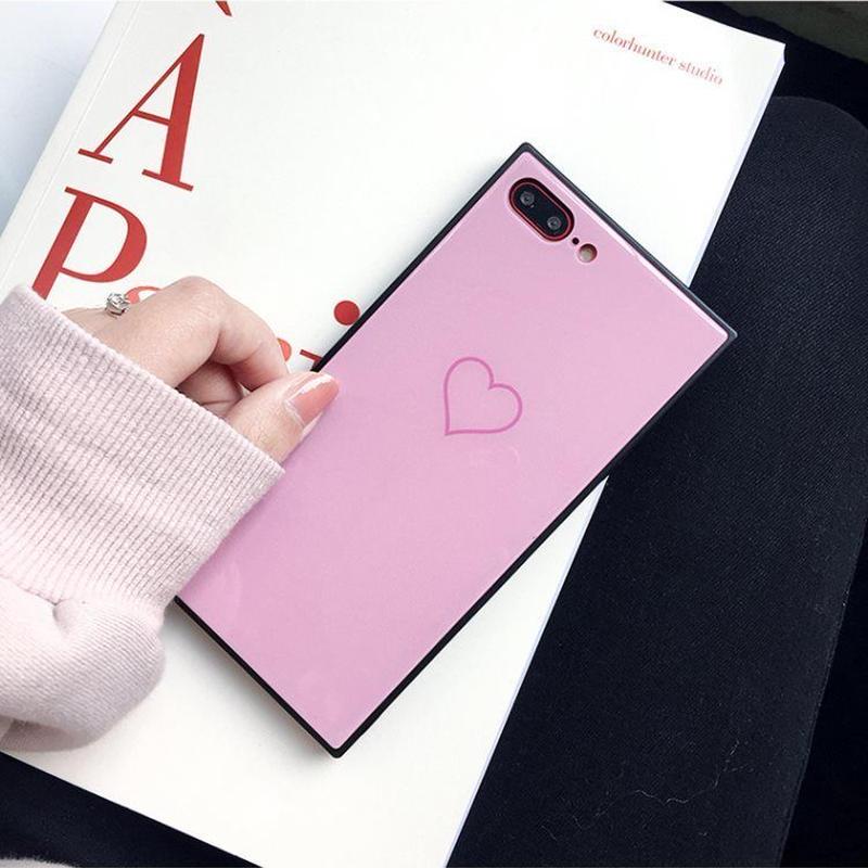 スクエア型 iPhoneケース おしゃれ かわいい ハート ピンク
