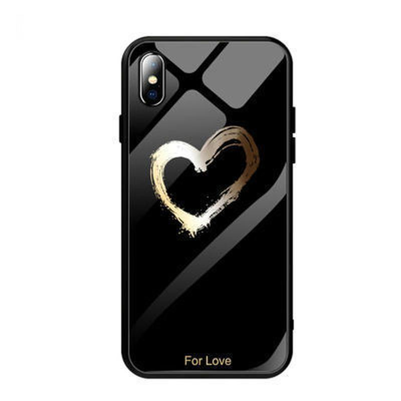 iPhoneケース おしゃれ かわいい ハート ペア ソフトケース ブラック