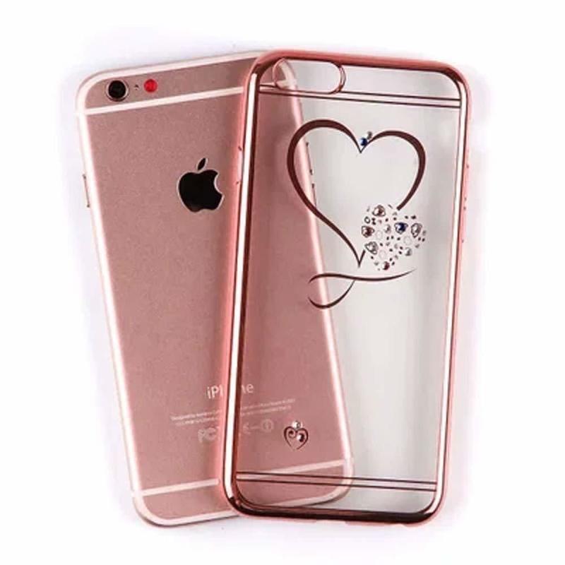 iPhoneケース オシャレ かわいい ハート スワロフスキー ソフトケース (ローズゴールド)