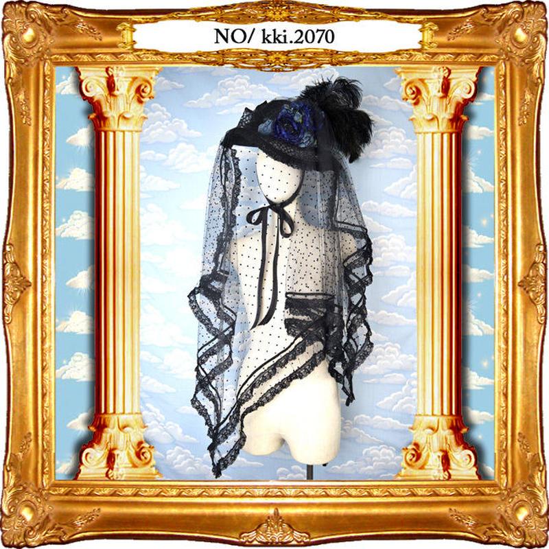 kki.2070 青い薔薇と水玉チュールのロングベールドレスHAT。