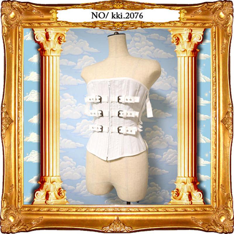 kki.2076 バックルと編み上げの拘束服風コルセット。