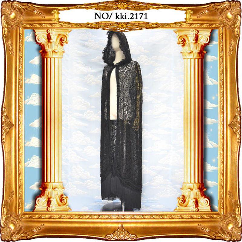 kki.2171 ブラックレースフリンジロングゴシックマント。