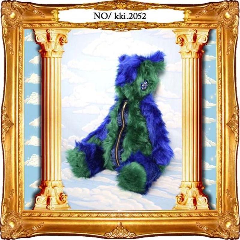 kki.2052 青と緑のもふもふくまちゃんBAG。