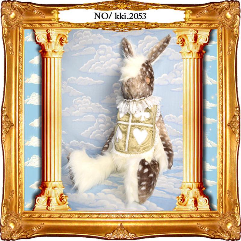 kki.2053 アンティークホワイトトランプウサギBAG。