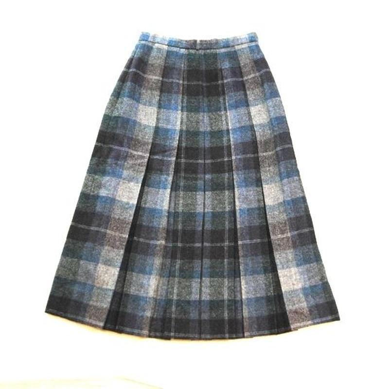 ENGLAND Wool Check Pleats Skirt