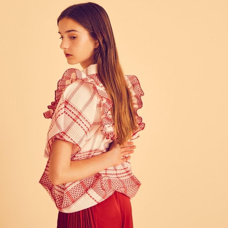 【 HOUGA 】check giftbox blouse