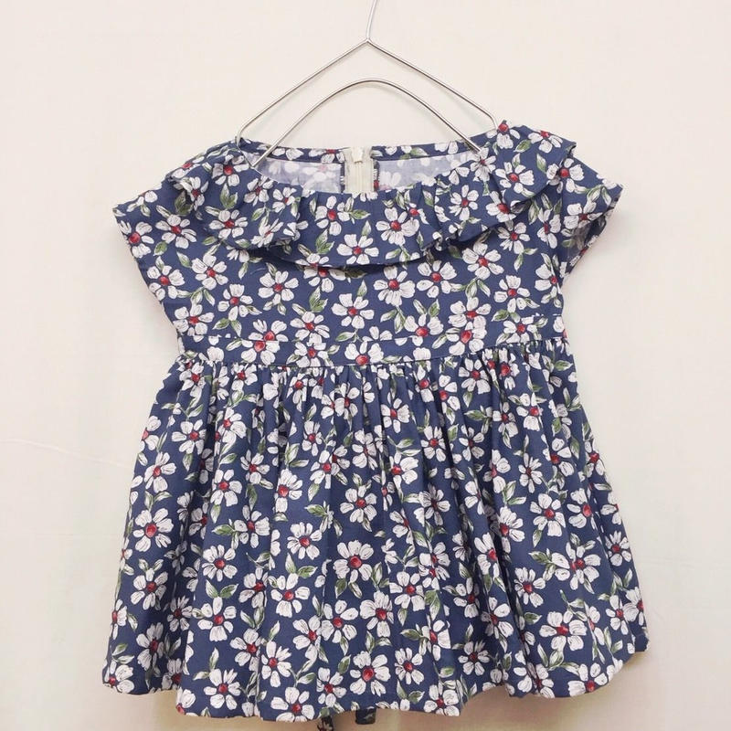 【 melenani 】 Volum Short Dress -flower x navy-