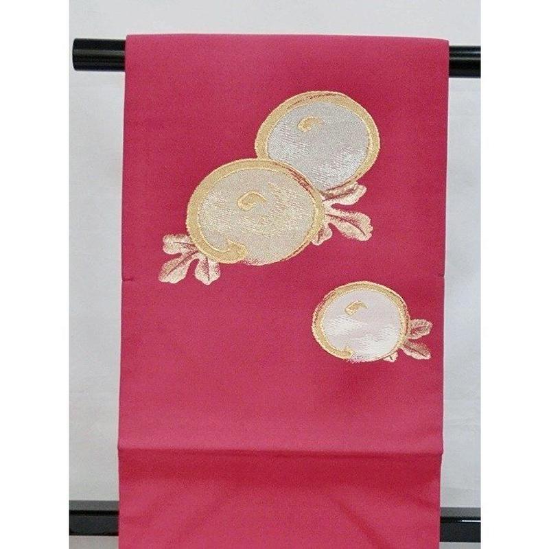 未使用【織九寸名古屋帯】正絹 ストロングレッドパープル★萬寿菊