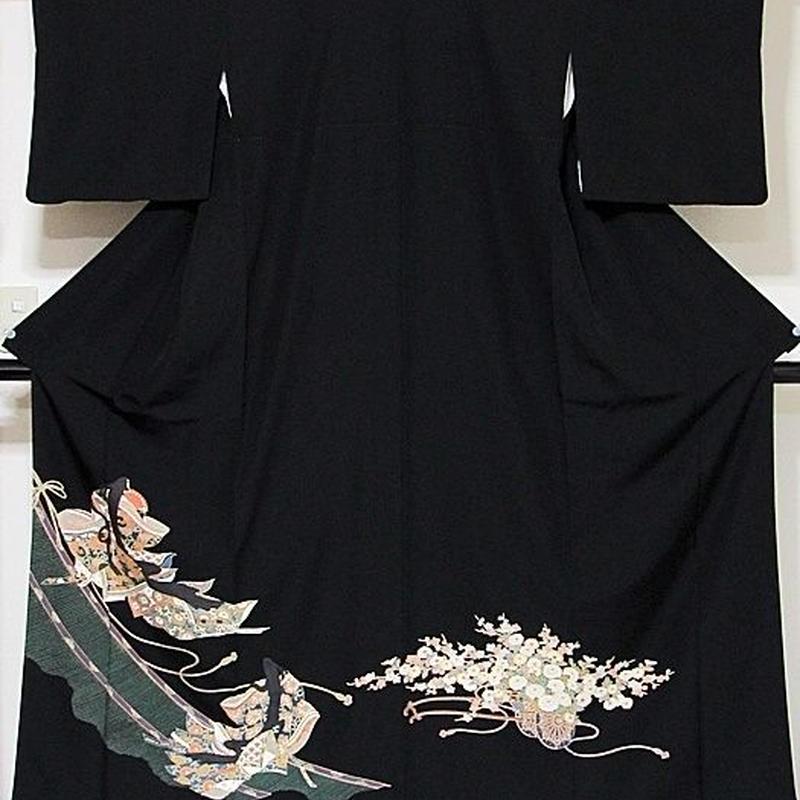 【黒留袖】正絹 比翼 一越 平安 お姫様に花車☆158cm前後の方ベストサイズ【美品】訳アリ