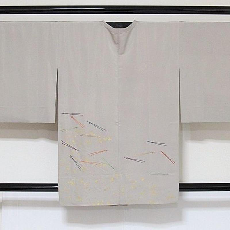 【道行コート】単衣仕立て/小紋箔 色紙散し刺繍 松葉/灰白☆150cm前後ベスト【美品】