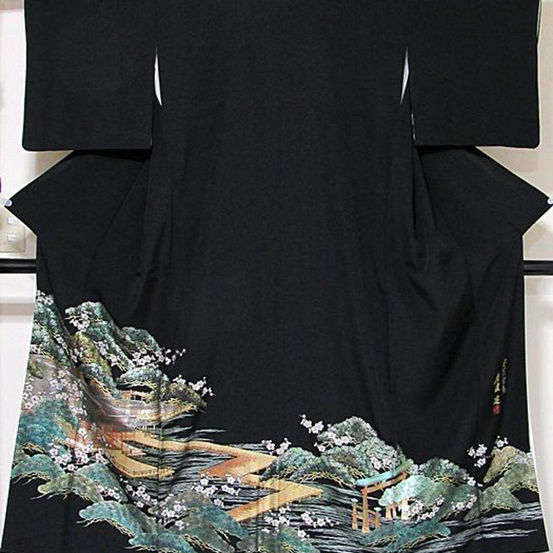 【特選】【黒留袖】正絹比翼/伝統金彩工芸師「唐渡建」作/安芸宮島/落款入り☆153cm前後の方ベストサイズ【超美品】お薦めです