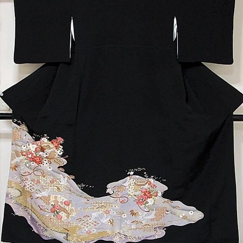 【黒留袖】一越 比翼(化繊) 鶴に牡丹 貝桶/紫 紫グレー☆155cm前後の方ベストサイズ【美品】