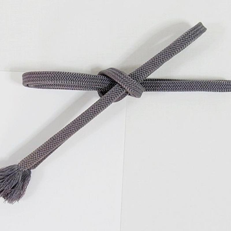 正絹 帯締め 平唐組 切房 手組紐☆紫グレー【メール便可】