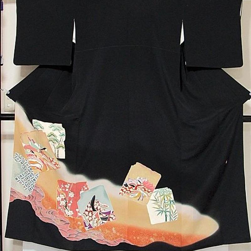 【黒留袖】正絹 比翼 一越 落款入り 刺繍 道長に色紙散し 平安のお姫様に松竹梅☆152cm前後の方ベストサイズ【美品】