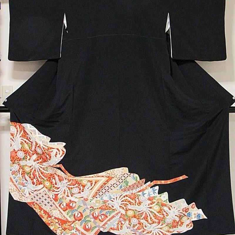 【黒留袖】正絹 比翼 一越 鳳凰に菊他吉祥柄☆159cm前後の方ベストサイズ【美品】