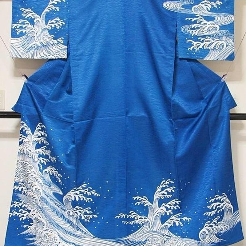洗えるキモノ【附下げ】単衣仕立て なると波/ブルー☆157cm前後ベスト/踊り 舞台 イベント