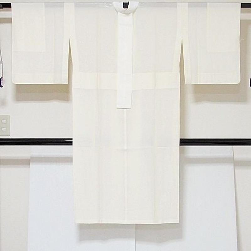 【絽 長襦袢】単衣・夏用 正絹絽 正絹絽半衿付き 衣紋抜き/五本絽☆146cm前後ベスト【美品】