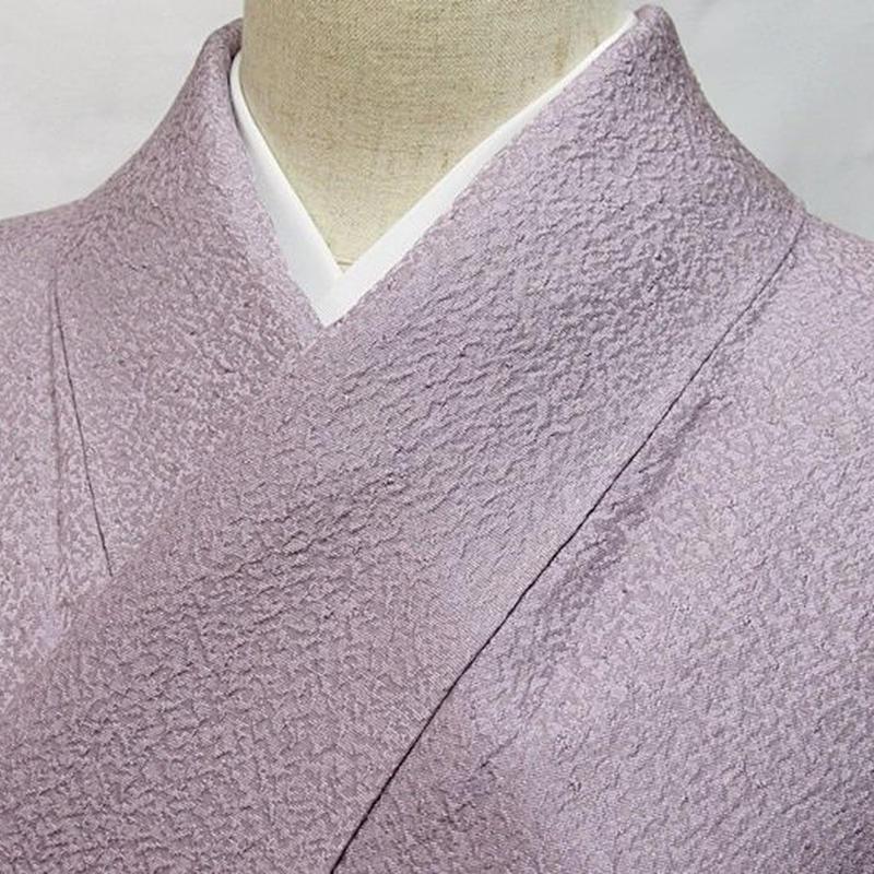 使用感なし【単衣 色無地】一つ紋 単衣 紋綸子 正絹絽衿裏/浅紫☆152cm前後ベスト【超美品】お薦めです