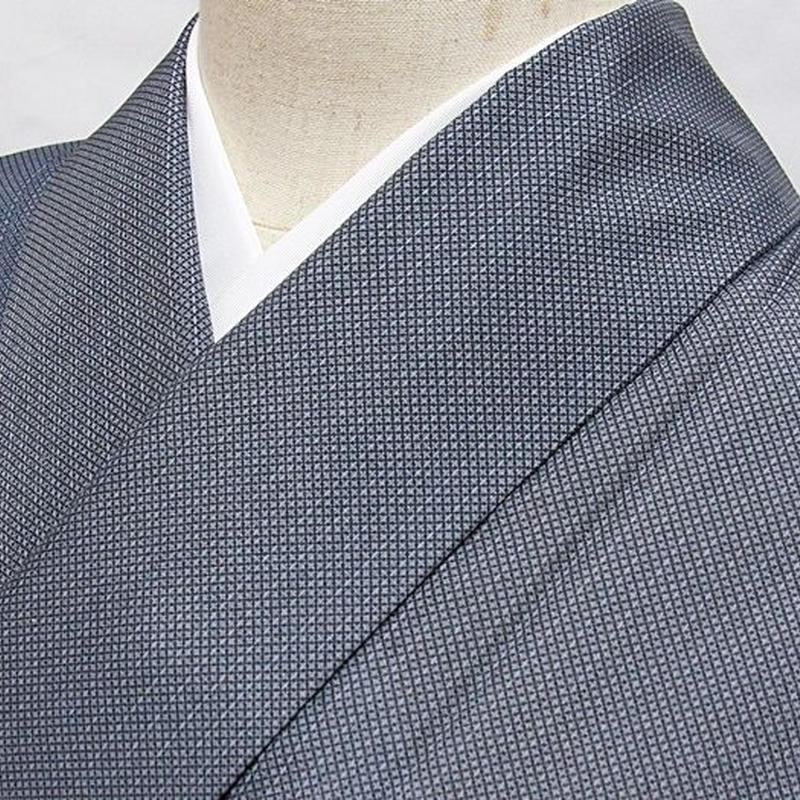 【単衣・夏着 小紋】着物 絣風 鰹縞に椿/ブルー グレー☆160cm前後ベスト【超美品】お薦めです