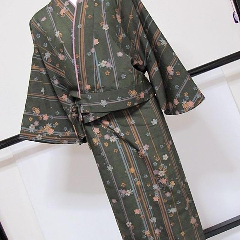二部式きもの(裏付き) 縞に桜/化繊 洗える 洗いタグ付き M寸/深緑【美品】丸洗い済