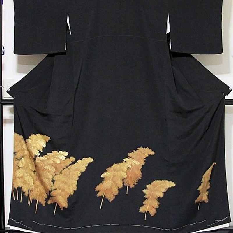 【黒留袖】正絹 比翼 一越 竹林☆160cm前後の方ベストサイズ【美品】