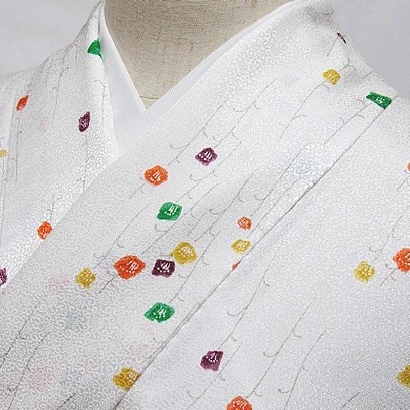 【単衣 小紋】上等化繊 着物 可愛らしい小花/ホワイト☆160cm前後ベスト【美品】