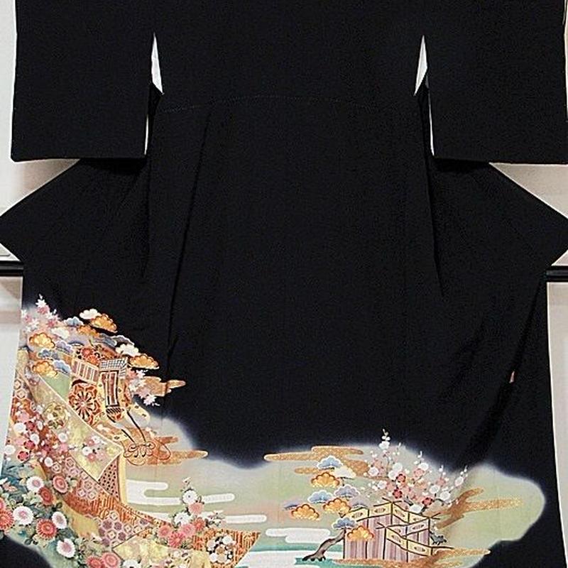 【黒留袖】正絹比翼/落款入り/刺繍 土佐霞に御所車☆156cm前後の方ベストサイズ【超美品】お薦めです
