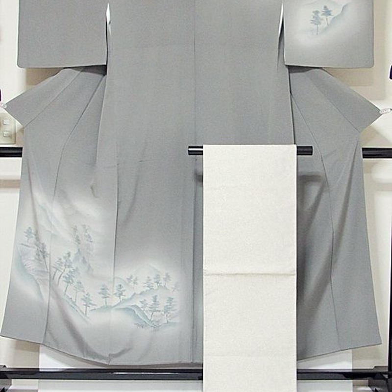 【附下げ 袋帯(全通)セット】袷 一越/洛景絵図★グレー暈かし★150cm前後ベスト【美品】