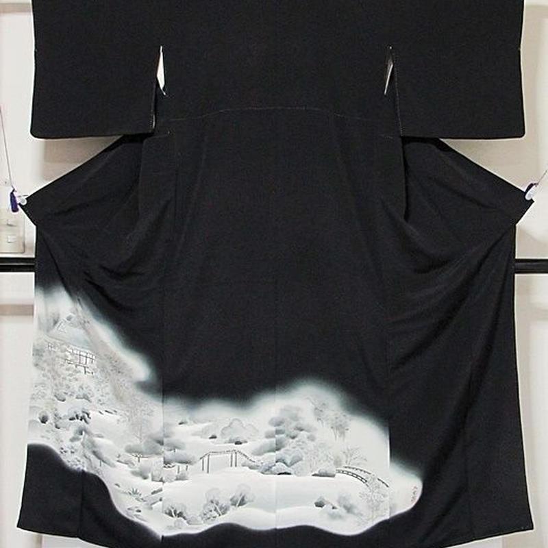 【黒留袖】正絹 一越 比翼なし バチ衿 三宝院絵図☆151cm前後の方ベストサイズ