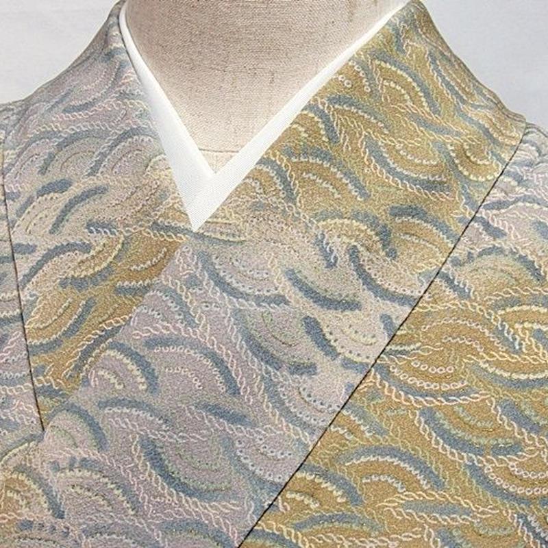 【小紋】袷着物 綸子 縄編み青海波/グレー 黄土色☆154cm前後ベスト【超美品】お薦めです