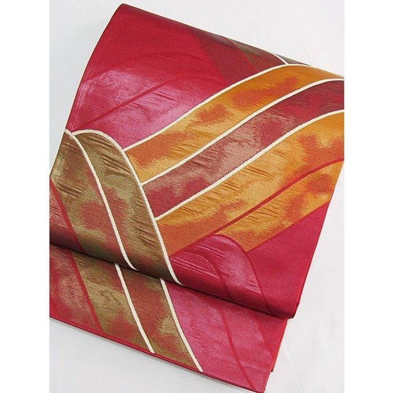 【新品・アウトレット】【未使用】【袋帯】オシャレ袋帯/赤【美品】