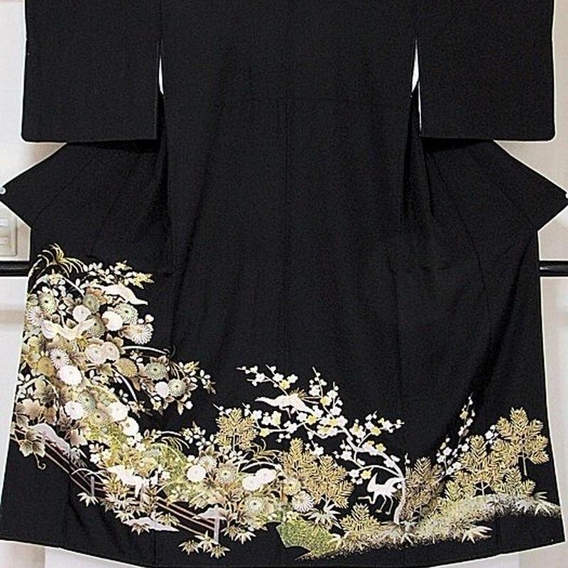 【黒留袖】正絹比翼/松竹梅 菊に鶴☆147cm前後の方ベストサイズ【美品】