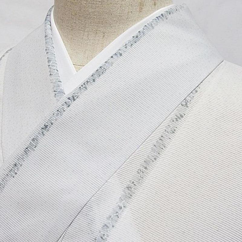 洗えるキモノ【絽 小紋】夏着物 縞/ペールグレー☆162cm前後ベスト【美品】お薦めです