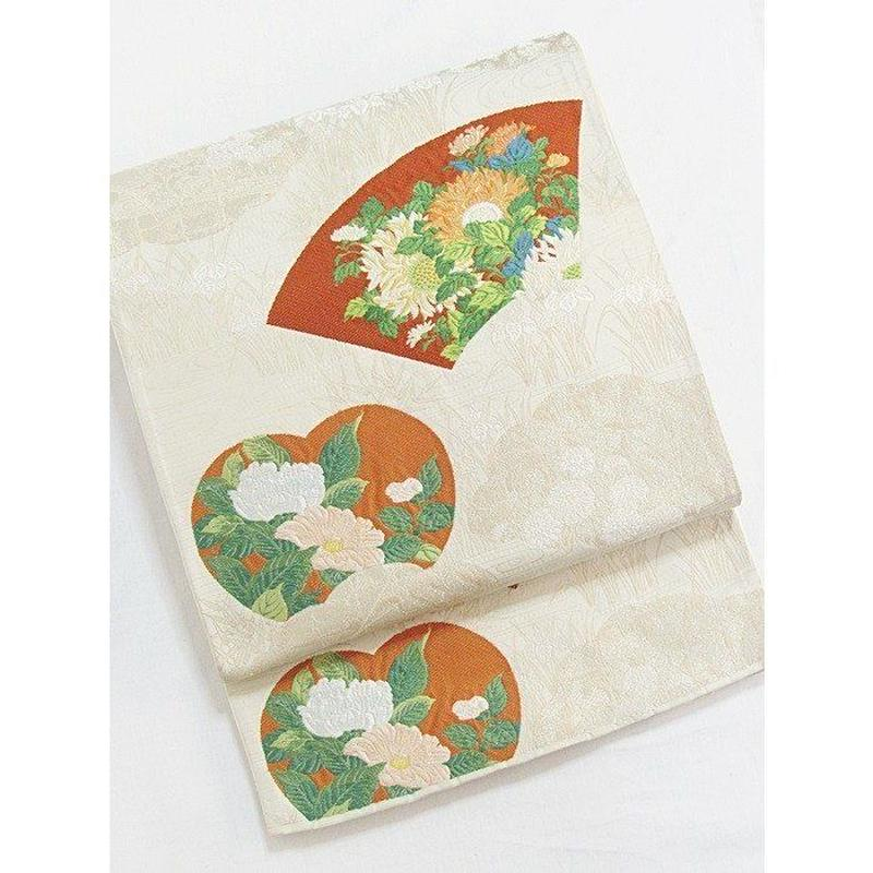【錦 袋帯】雲に四季花文 地紙円窓/ベージュに金
