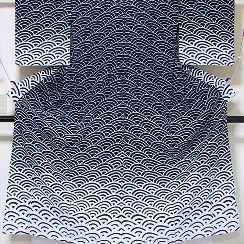 【浴衣】エバ浴衣 青海波/藍 白 暈し☆152cmベスト/リサイクル/中古