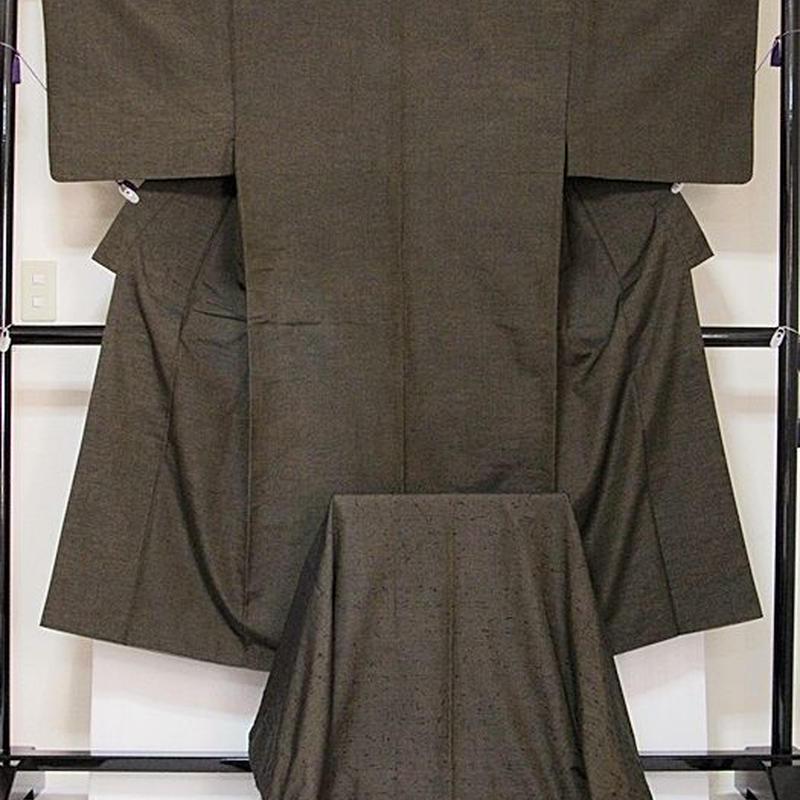 【男物 ひげ紬アンサンブル】紬/着物 羽織(羽織紐付き) アンサンブル☆167cm前後ベスト【美品】