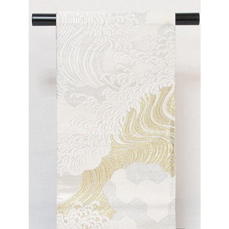 【錦 袋帯】上等化繊/子持亀甲に名取波/白 金 銀【美品】