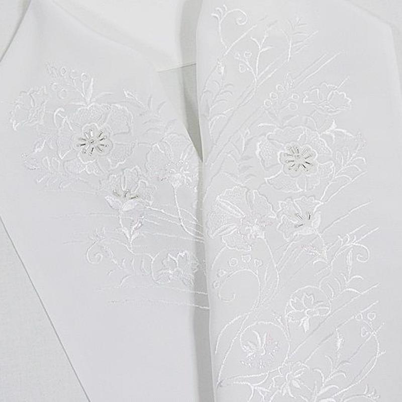 【刺繍 半えり】 半衿 振袖 婚礼 豪華 日本製 白白 パール刺繍 ビーズ加工★花