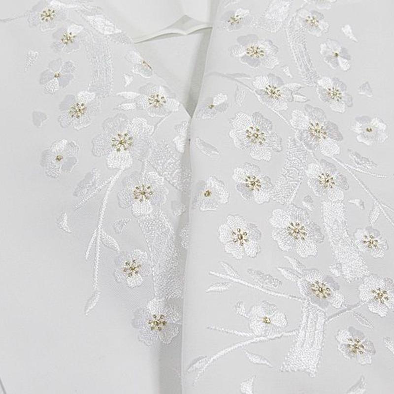 【刺繍 半えり】 半衿 振袖 婚礼 豪華 日本製 シルエリー 白白 金★枝桜 短冊
