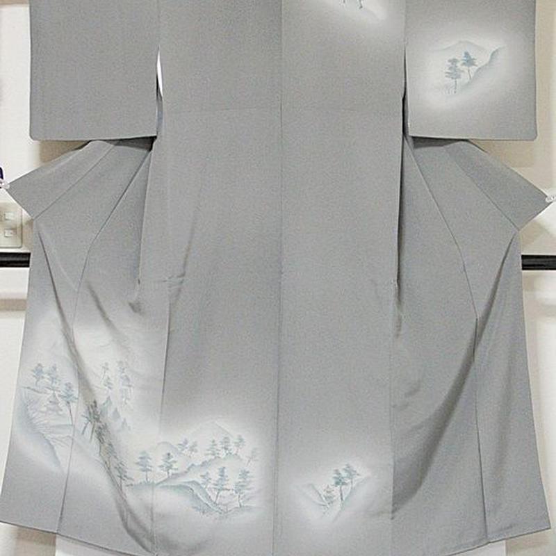 【附下げ】袷着物 一越/京洛景/150cm前後ベスト★グレー暈し【美品】