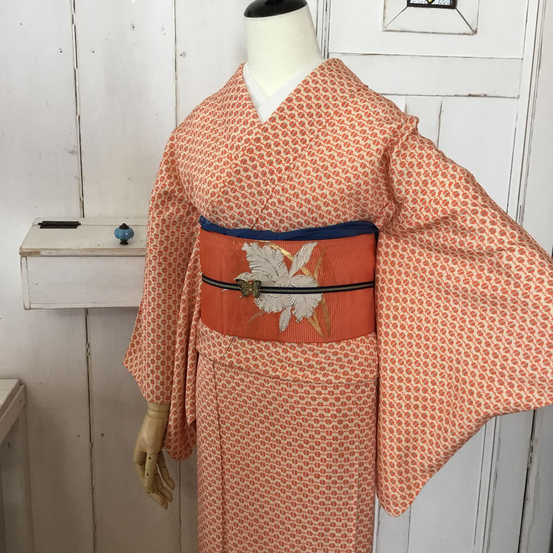 Km988 【単衣】ミカンのような遠州椿?ポップ柄単衣とオレンジ夏帯・トータルコーデ6点セット