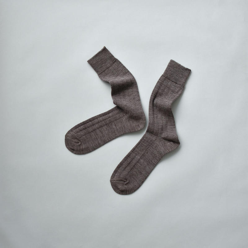 MERINO WOOL RIB SOCKS / 25-27cm  Heather gray