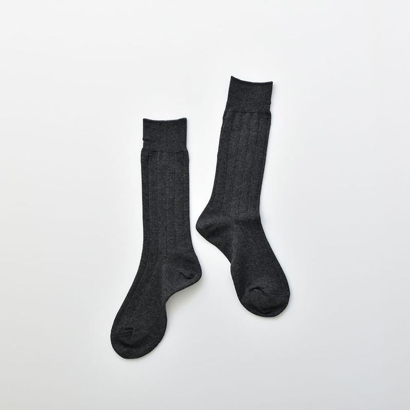 COTTON RIB SOCKS / 22-24cm  Dark gray
