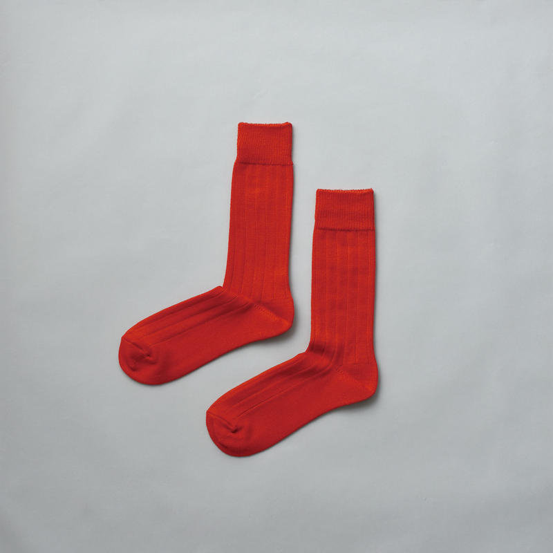 MERINO WOOL RIB SOCKS / 22-24cm  Red