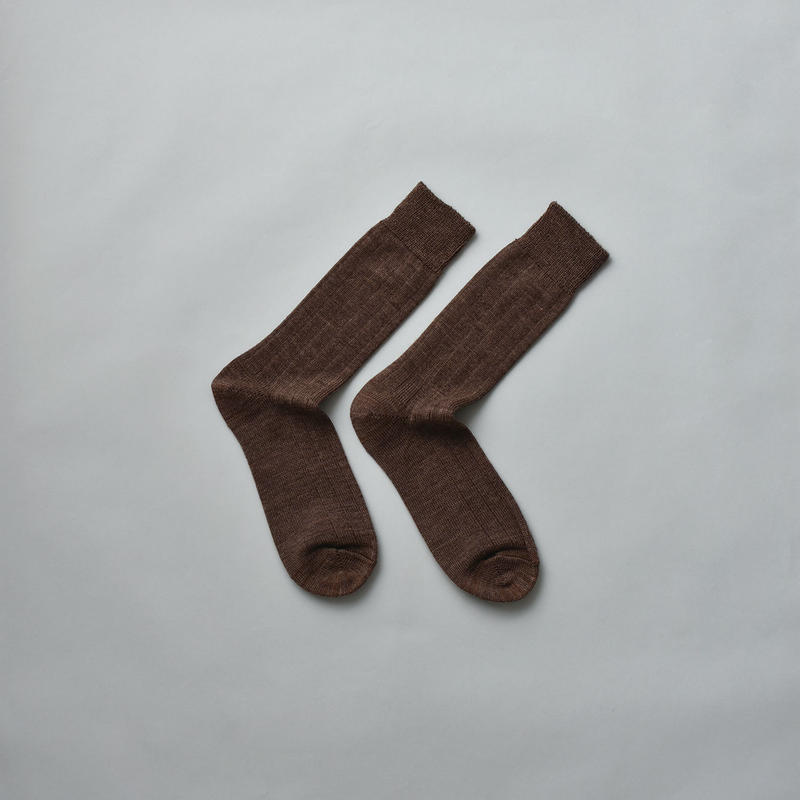 MERINO WOOL RIB SOCKS / 22-24cm  Chocolate