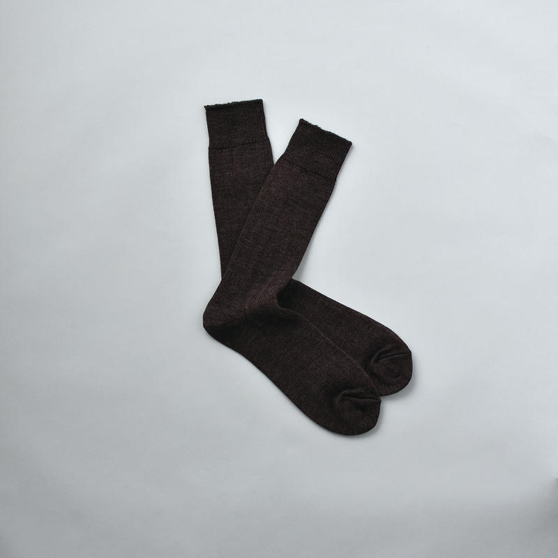 MERINO WOOL RIB SOCKS / 25-27cm  Dark brown