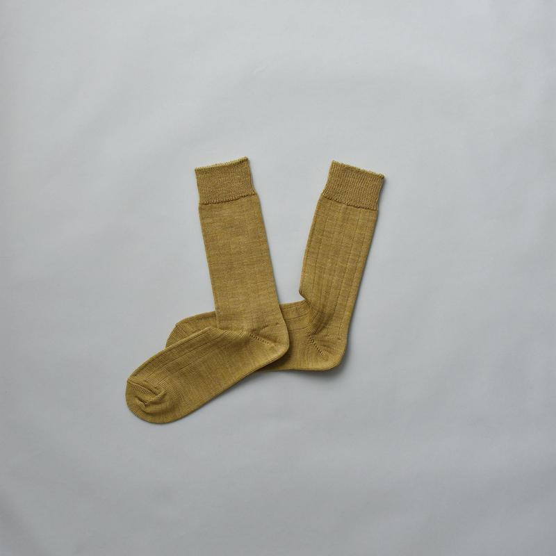 MERINO WOOL RIB SOCKS / 28-30cm  Mustard